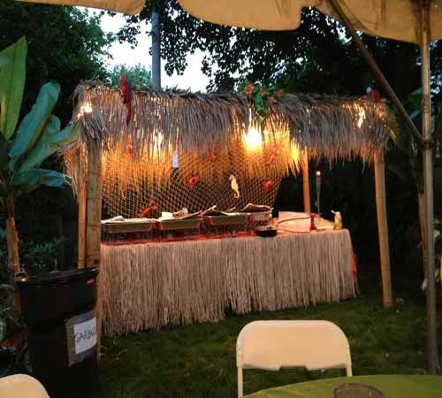 Smoking Volcano Package erupts every 12 minutes comes with trees tropical plants tiki statues lava and lightsu2026$545 & Hawaiian and Tropical Themed Party Rentals